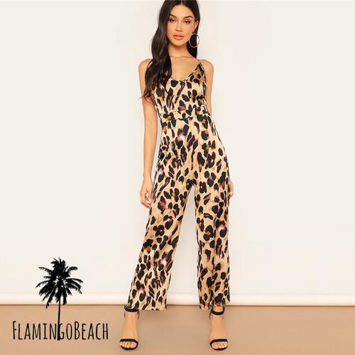【FlamingoBeach】leopard long rompers レオパード ロングロンパース