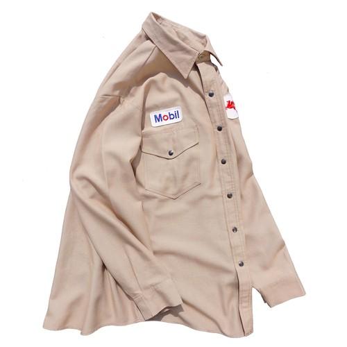 1970's〜80's USA製 [Workrite] Mobil ノーメックス ワークシャツ ベージュ 表記(16 1/2) ヴィンテージ モービル