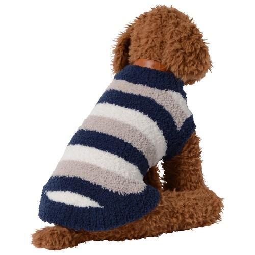 【ご好評につき送料無料 1月31日まで】  犬服(ドッグウェア) ペット服 ふわふわニット ベスト ボーダー マルチネイビー