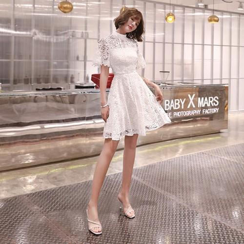 ワンピース レース ドレス フレア スタンドカラー 花柄 フラワー ハイウエスト 半袖 ショート 白 ショートスカート ミニ ジッパー 夏 エレガント 大人かわいい お出かけ パーティー お呼ばれ デート フェミニン 花柄
