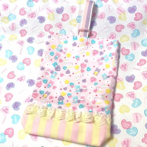 キャンディハーツとアニマル柄のうわばき袋