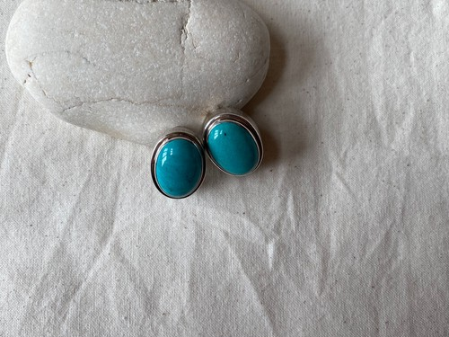 <vintage silver925>oval turquoise earrings