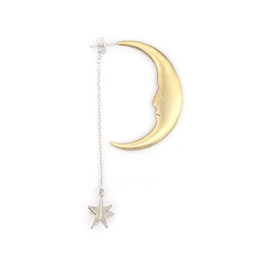 月とお星さまピアス シルバー