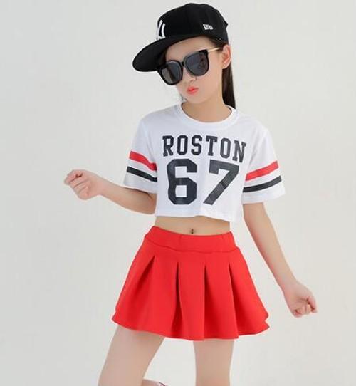 S5217子供上下セット2点 キッズ 女の子 半袖Tシャツ+スカート ジュニア 大人から子供まで 身長110-180cm
