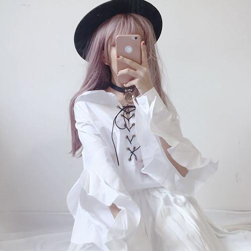 【トップス】スタイリッシュ春夏無地リボンバンド飾りフリル長袖折り襟シャツ