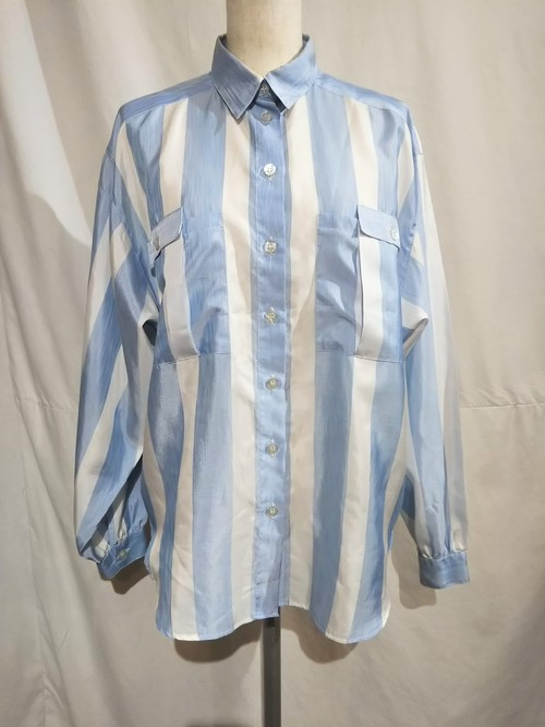 Wide stripe shirt blouse /Made In West Germany [G-1110]