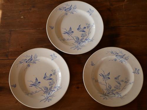 鳥と花 アンティークプレート 平皿 フランスアンティーク A,B,C