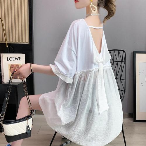 【tops】ファッションend清新!切り替えプリントリボンゆったり3色Tシャツ