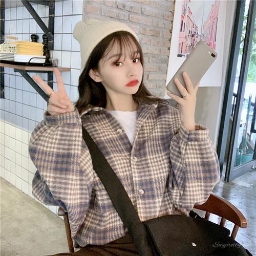 【トップス】秋冬韓国系学園風清新折襟チェック柄ゆったり シャツ