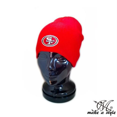 サンフランシスコ 49ERS ビーニー NFL シンプル ニットキャップ フォーティーナイナーズ B系 ストリート系 バイカー ロック ヒップホップ スケーター 83