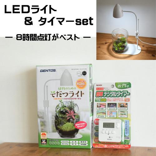 【苔テラリウム栽培用】 植物のためのそだつライト&デジタルタイマーセット ブラック/ホワイト