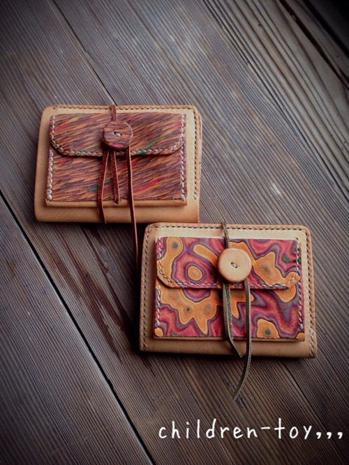 【children-toy,,, original craft】leather wallet 2つ折り