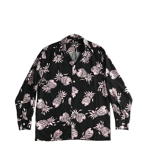 Mountain  長袖オープンアロハシャツ / Pineapple pink