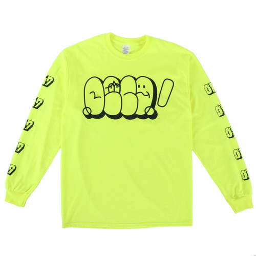 0867 / Long Sleeve T-Shirt / Throw Up / Safety Green