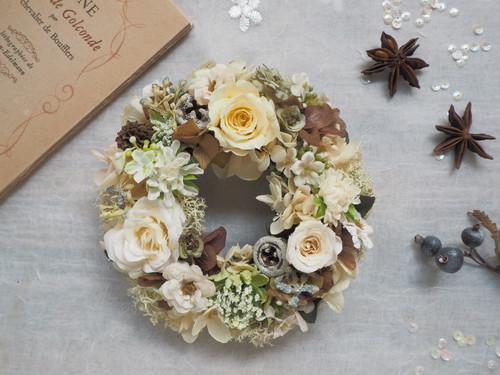 Petite Couronne<automne blanche>*・幸せ舞い込むミニリース *プリザーブドフラワー*花*ギフト*誕生日*記念日*結婚祝い*敬老の日