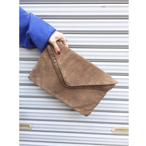 80's brown leather clutch bag [B321]