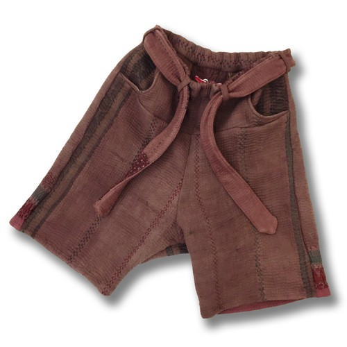 Leh 刺し子 Half Pants 【Brown】