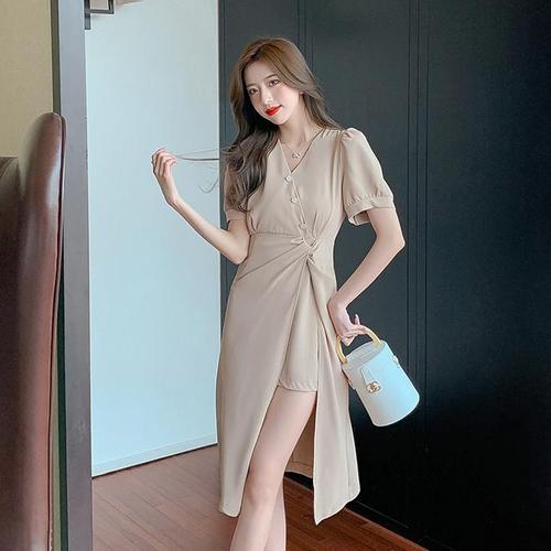 【dress】美人度アップファッションVネック不規則 イレギュラー2色デートワンピース