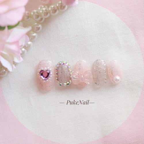 Pukeネイル[No.410]ブミラー・ふんわり・可愛い ネイルチップ