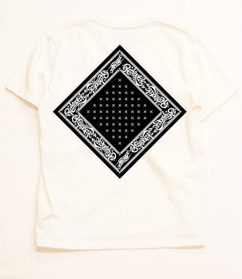 RAKUGAKI Bandana T-Shirts White x Black