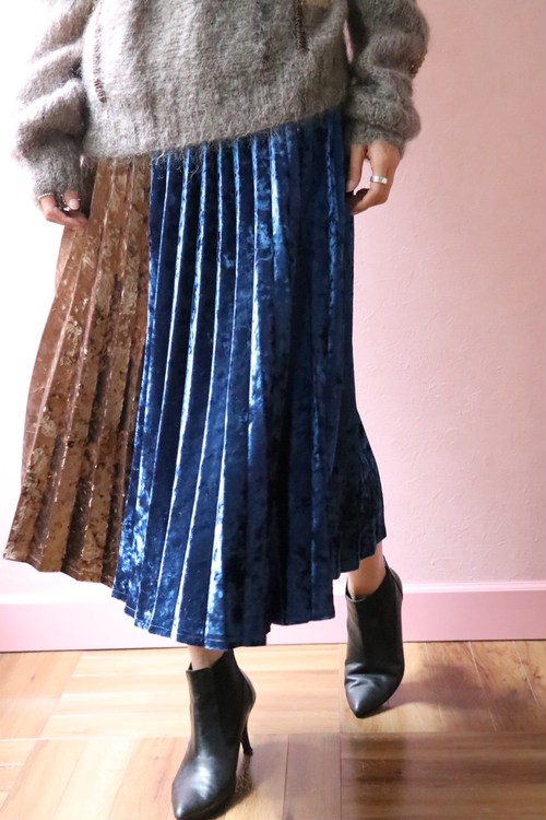 velour 2 colored pleats skirt