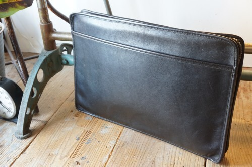 70's COACH black zip-top Clutch