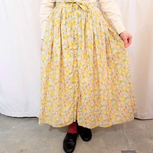 Botanical pattern pleats skirt /Made In France [D-28]