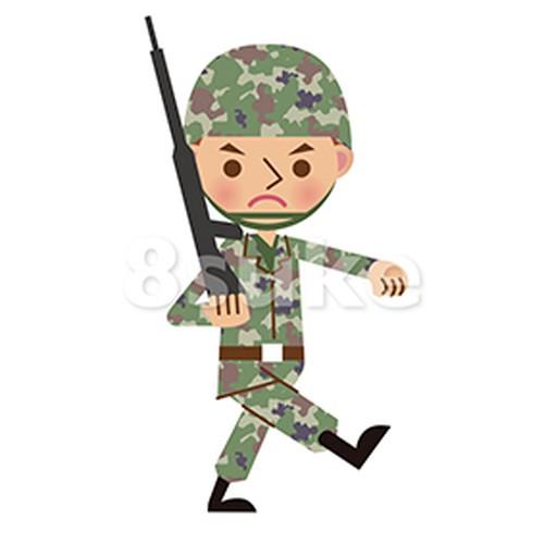 イラスト素材:銃を担いで行進する自衛官・軍人(ベクター・JPG)