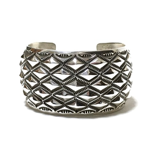 Navajo Sterling Silver Repousse Diamond Stamp Bangle by Aaron Toadlena