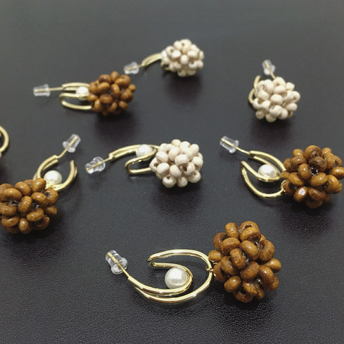 wood beads pierce(silver925post)