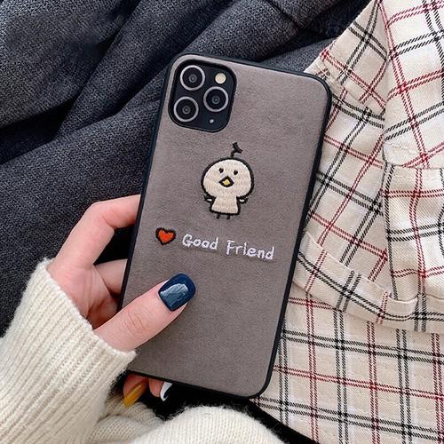 【注文商品】Cute Cartoon Animal Embroidered Corduroy iPhoneケース【Gray】