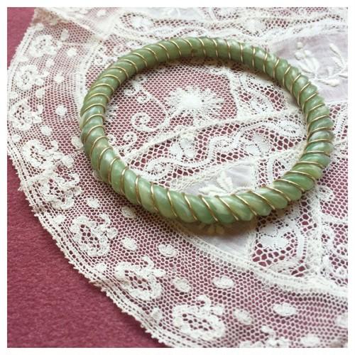 デットストック ブレスレット バングル プラスチック スモーキーグリーン