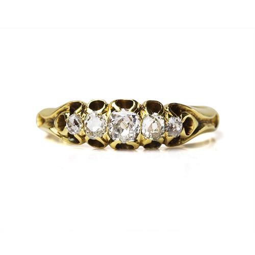 Victorian Old mine-cut Diamond 5stone Ring