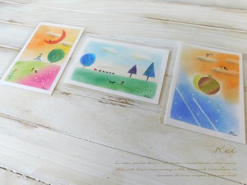 ポストカードサイズ パステル原画 3枚1組(楽シリーズ)