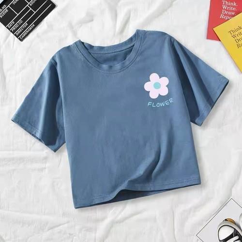 可愛い オシャレ カジュアル カレッジ風 ハナ シンプル 合わせやすい Tシャツ・トップス