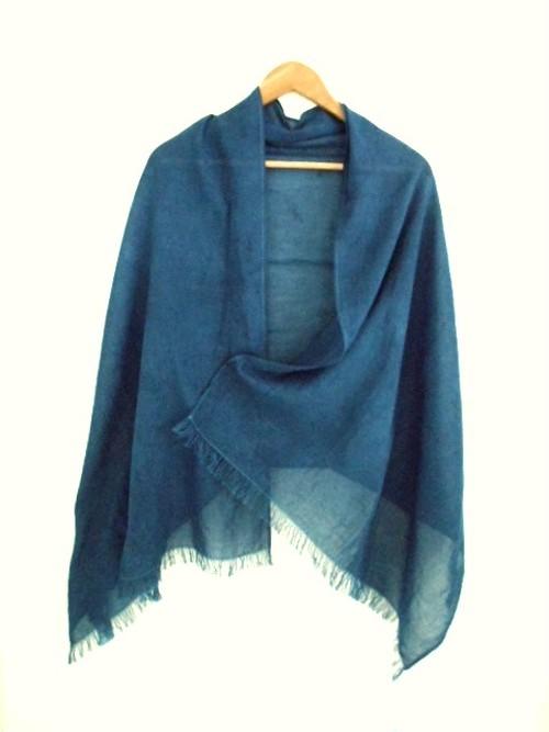 ◆100%自然素材 天然灰汁発酵建て 本藍染◆ オーガニックコットン 大判ストール