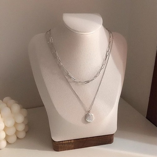 fresh pearl metal necklace