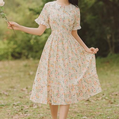 シアーレースカラー小花柄ワンピ ・14912