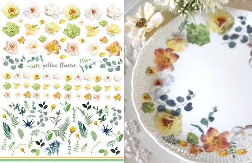 yellowflowers イエローフラワー転写紙 A4サイズ (ポーセリンアート 黄色の花転写紙)