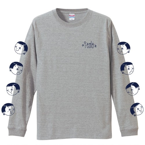 """喜怒哀楽""  L/S T-shirt  [GRAY/NAVY]"