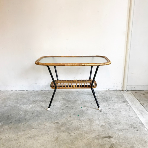 """Rohé"" Glass Top × Rattan Side Table 60's Vintage  オランダ"