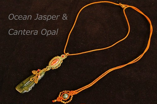 Oceanjasper & Canteraopal brasswire macrame pendant