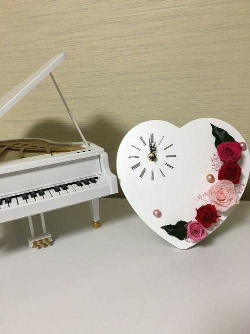 乙女ハートのプリザーブド時計