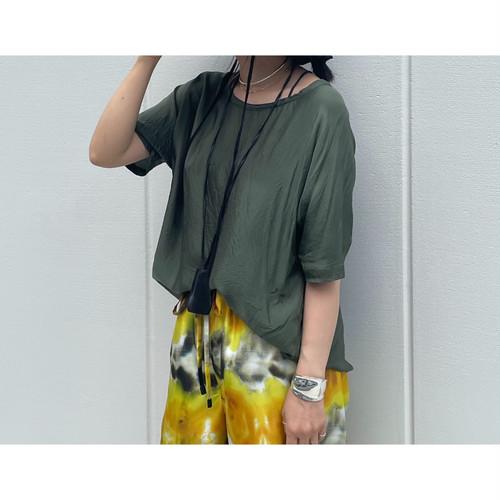 【hippiness】cupro wide Tshirt (khaki)/【ヒッピネス】キュプラ ワイド Tシャツ(カーキ)