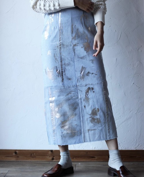在庫あります【Malion vintage】mackerel denim skirt-denim