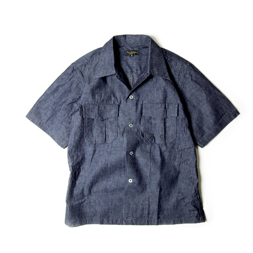 Consigliere Garments/コンシリエーレガーメンツ Open collar short sleeve navy chambray shirt