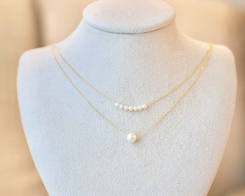 Pearl double line necklace