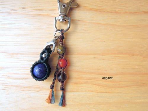ラピスラズリのお守り -財布やポーチにしまえるお守り石キーホルダー-