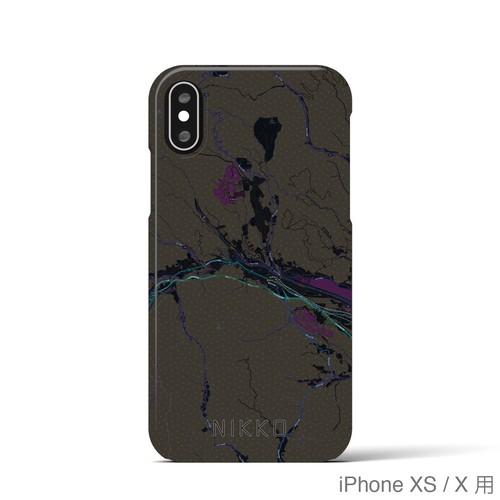 【日光】地図柄iPhoneケース(バックカバータイプ・ブラック)