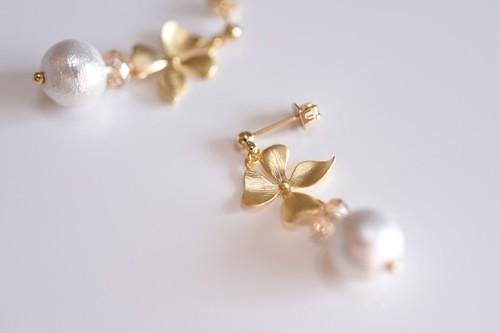 Gold Flower × Cotton Pearl Pierce/Earring